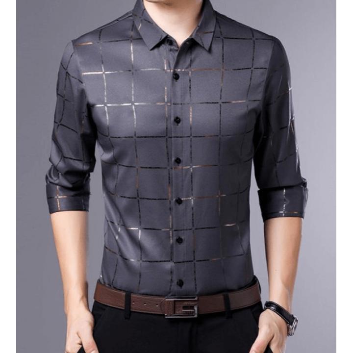 Мужская рубашка из шелкового атласа RUB023