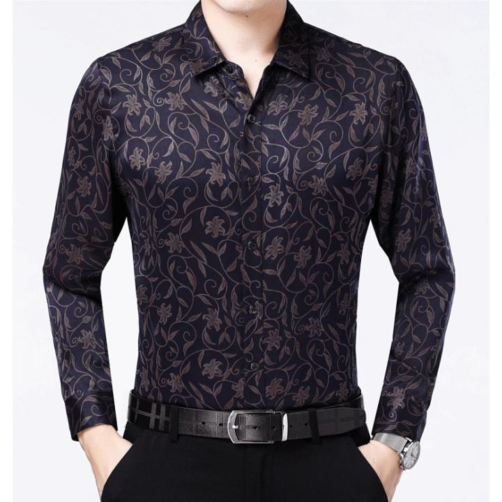 Мужская рубашка из шелкового стрейч-атласа RUB029
