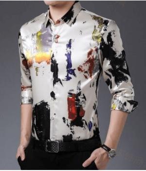 Мужская рубашка из шелкового атласа RUB034