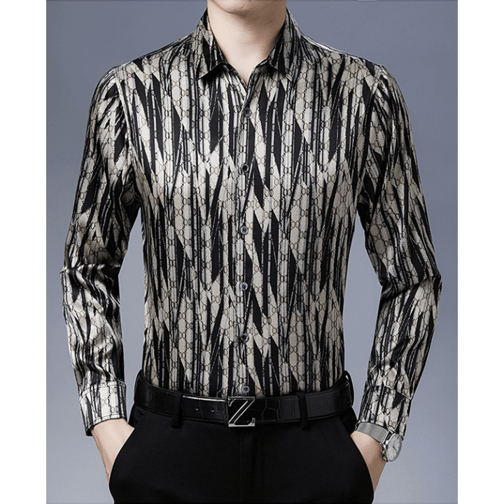 Мужская рубашка из шелкового стрейч-атласа RUB041