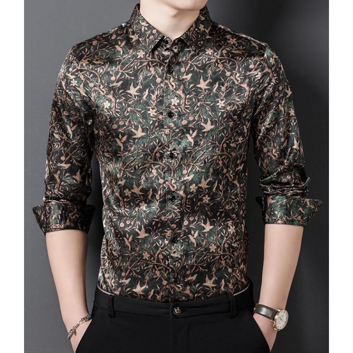 Мужская рубашка из шелкового атласа RUB045