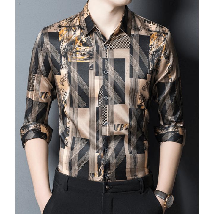 Мужская рубашка из шелкового стрейч-атласа RUB046