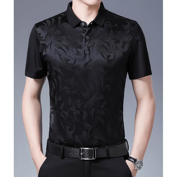 Мужская рубашка из шелкового стрейч-атласа RUB049