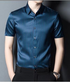 Мужская рубашка из шелкового стрейч-атласа RUB050