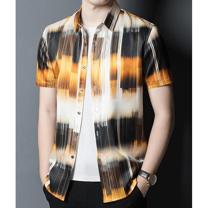 Мужская рубашка из шелкового стрейч-атласа RUB055