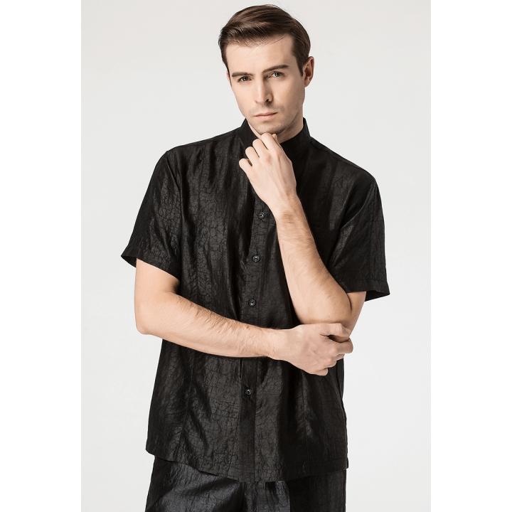 "Мужская рубашка из ""битого"" шелка RUB068"