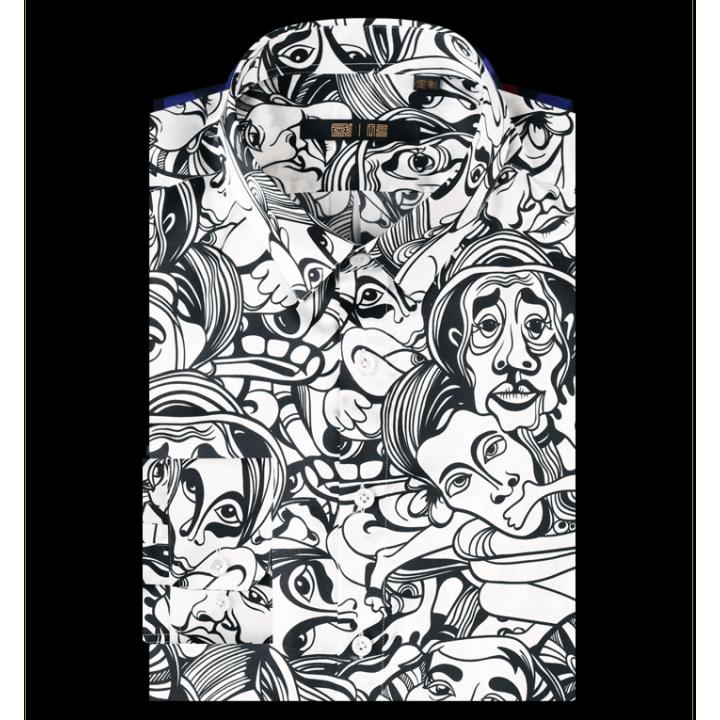 (Пошив на заказ) Мужская рубашка из шелкового стрейч-атласа высокой плотности RUB076