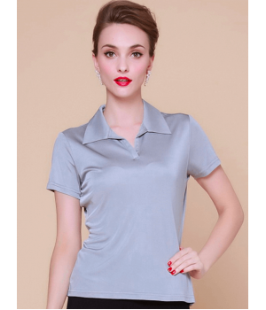 Блузка-поло из шелкового трикотажа SHT017
